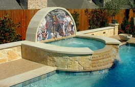 mosaic on water feature wall installation
