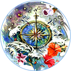 Tropical compass Rose Mosaic medallion