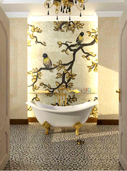 Birds on branches mosaic bathroom wall installation