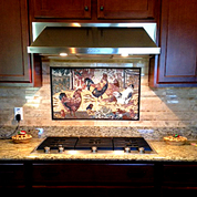 Rooster barnyard ,\mosaic mural for kitchen backsplash