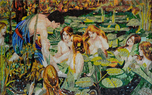 GLASS WITH MARBLE ......BATHING FIGURES BY WATERHOUSE  MOSAIC MURAL   ..HYLOS AND THE NYMPHS BY WATERHOUSE.  THE PAINTING WAS RECREATED AS A FABULOUS GLASS MOSAIC..