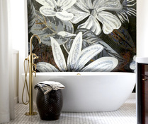 Large floral mosaic bathroom installation
