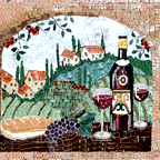 Wine art mosaics, wine bottles, glasses, cheese, bread mosaics