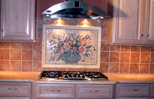 floral mosaic kitchen backsplash installation
