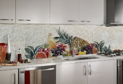 Fruit mosaic kitchen backsplash installation