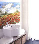 Tuscan poppy field mosaic bathroom installation