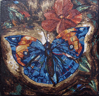 Butterfly and flowers mosaic