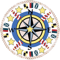 Compass Rose, lighthouse, flags and stars Marina mosaic