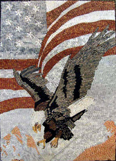 Eagle and American  flag mosaic