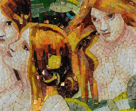 A close up  example of mosaic pieces as a mural
