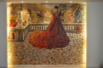 woman in red mosaic mural