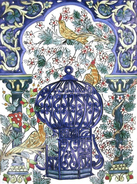 Tunisian and Moroccan mosaic mural with birds and birdcage
