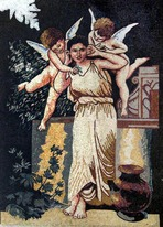 WOMAN WITH CHERUBS MOSAIC MURAL