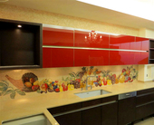 Panoramic fruit still life mosaic installation.. kitchen mosaic backsplash