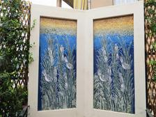 Outdoor garden wall mosaic