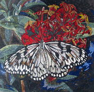 Butterfly on flower mosaic