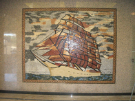 Ship mosaic mural installation