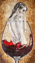 Woman in red wine glass mosaic