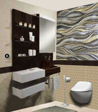 Wave mosaic installation in bathroom