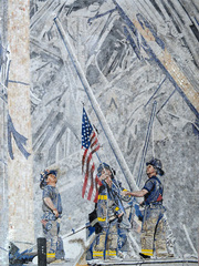 098 MS... 911 mosaic.. firefighters raising Flag at World Trade center mosaic