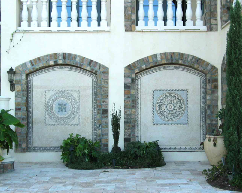 Outdoor mosaic niche installation