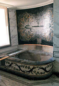 Mosaic bathroom installation..scroll work