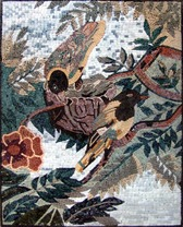 Birds in tree mosaic