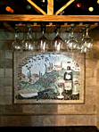 Tuscan landscape mosaic mural for kitchen backsplash niche mosaic