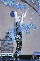 art deco blue woman Mosaic mural
