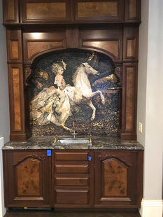 Horse and fashion rider mosaic for wine room.. has gold metallic accents.. dramatic