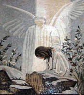 Jesus and Angel mosaic mural