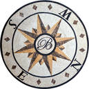 compass rose mosaic with monogram