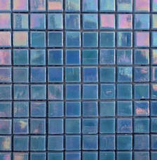 Blue irridescent glass mosaic sheet