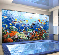 Undersea glass mosaic installation in spa