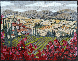 Tuscan landscape mosaic in a field of flowers