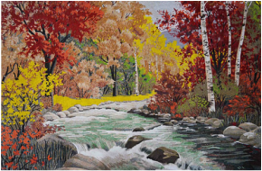 Mountain and river landscape mosaic