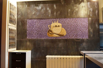Coffee cup mosaic  mural for kitchen backsplash