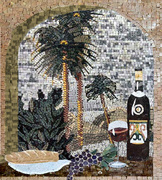 WINE ART AND TROPICAL MOSAIC MURAL palm trees mosaic   WITH ARCH