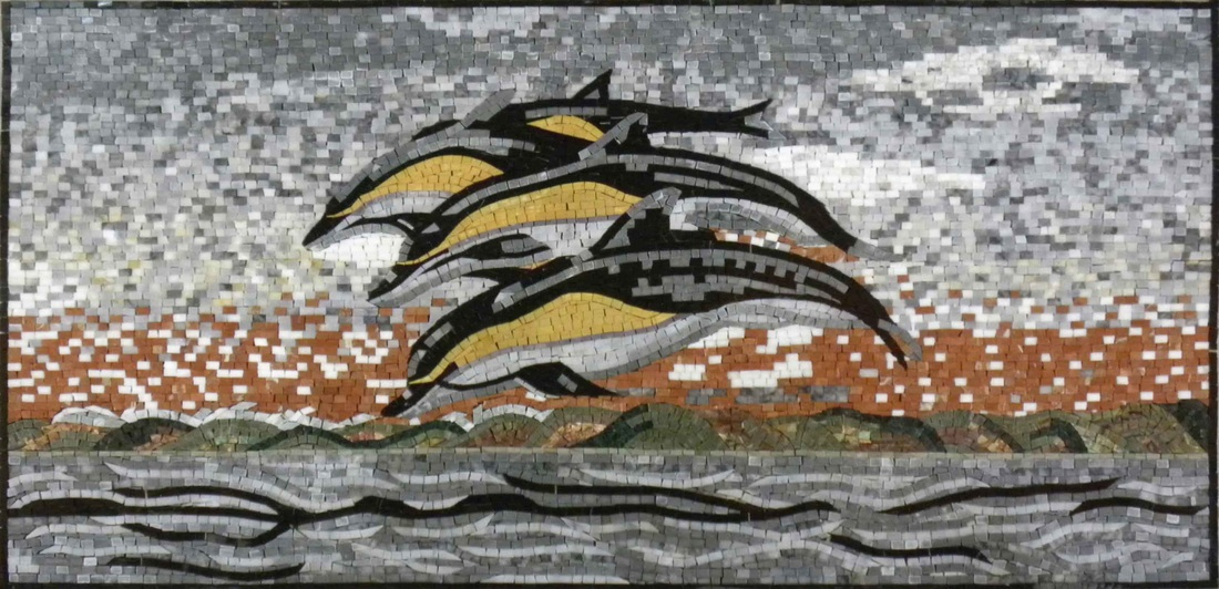 DOLPHINS JUMPING MOSAIC MURAL