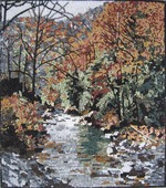 RIVER, MOUNTAINS TREES MOSAIC MURAL