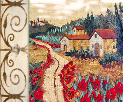 Tuscan landscape with scroll border on left side mosaic