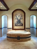 Bird peacocks mosaic installation in bathroom  niche mosaic