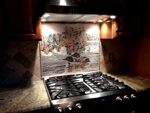 Loons swimming in lake  mosaic   kitchen backsplash .. Client had me redesign her photo as a mosaic