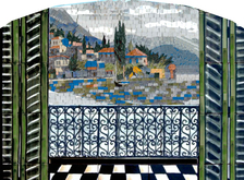 Through a window Tuscan or mediterranean  mosaic