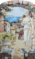 Mediterranean village with statue at entrance mosaic