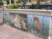 Sea wall mosaic mural