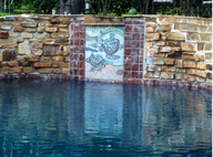 Turtle fountain mosaic mural