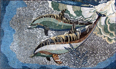 PDOLPHINS SWIMMING MOSAIC MURAL