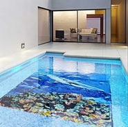 Pool installation with a mosaic fish mural