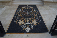 Closeup floor mosaic outdoor entryway